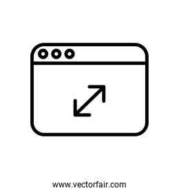 webpage template with arrows line style icon