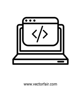 laptop computer portable with template line style icon