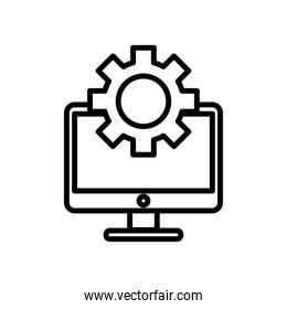 desktop computer monitor with gear line style icon
