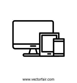 desktop computer monitor and digital devices line style icon