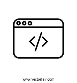 webpage template with code line style icon
