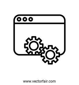 webpage template with gears line style icon
