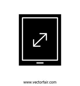 tablet device tech with arrow silhouette style icon