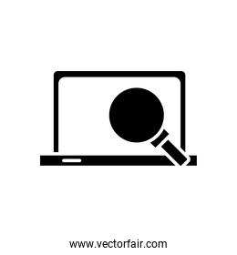 laptop computer portable with magnifying glass silhouette style icon