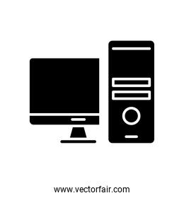 desktop computer monitor and tower silhouette style icon
