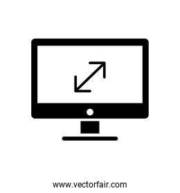 desktop computer monitor with arrows silhouette style icon