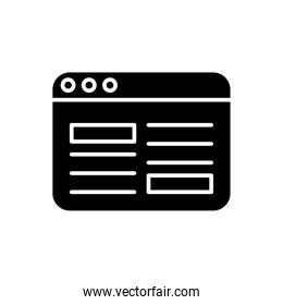 webpage template silhouette style icon