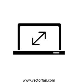 laptop computer portable with arrows silhouette style icon