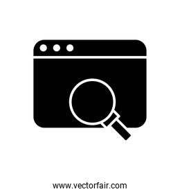 webpage template with magnifying glass silhouette style icon