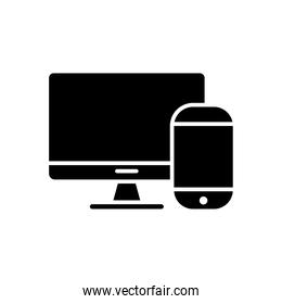 desktop computer monitor with smartphone silhouette style