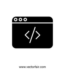 webpage template with code silhouette style icon