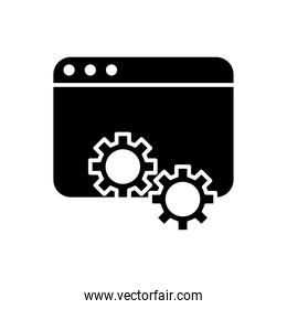 webpage template with gears silhouette style icon