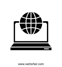 laptop computer portable with sphere silhouette style icon
