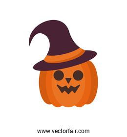 halloween pumpkin face with witch hat flat style icon