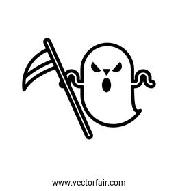 halloween ghost with scythe line style icon