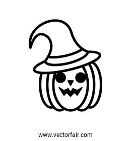 halloween pumpkin face with witch hat line style icon