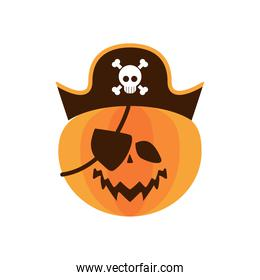 halloween pumpkin with pirate hat and patch flat style icon