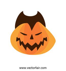 halloween pumpkin with dracula face flat style icon