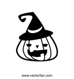 halloween pumpkin with witch hat line style icon