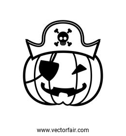 halloween pumpkin with pirate hat and patch line style icon