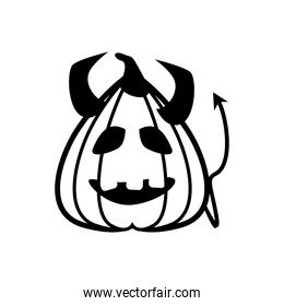 halloween devil pumpkin with horns and tail line style icon