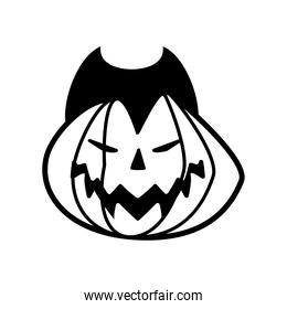 halloween pumpkin with dracula face line style icon