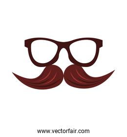glasses and mustache accessories flat style icon