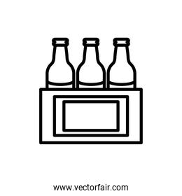beers bottles in pack line style icon