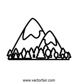 mountains with snow scene line style icon