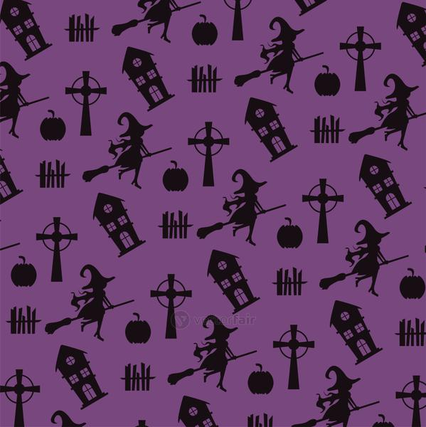 happy halloween card with witches flying and haunted castles pattern