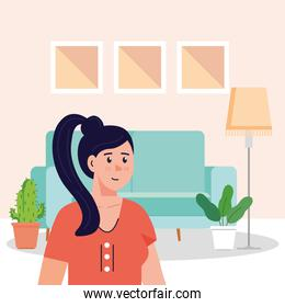 young woman in the living room scene