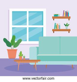 interior of the living room home, with couch, table, pot plant and decoration