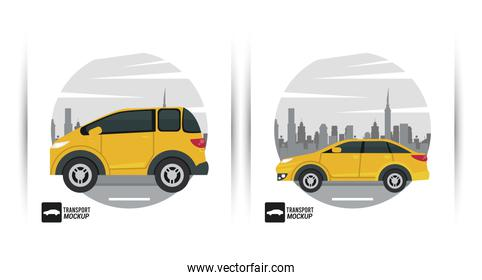 mockup cars color yellow isolated icons