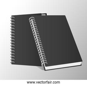 two notebooks mockup color black icons