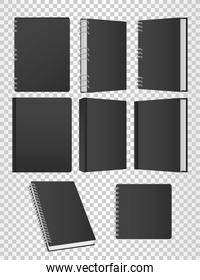 set of books and notebooks mockup color black icons