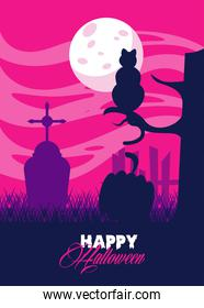 happy halloween celebration card with cat in cemetery scene