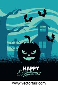 happy halloween celebration card with pumpkin face in haunted castle