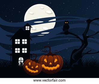 happy halloween celebration card with haunted house and pumpkins