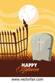 happy halloween celebration card with grave and fence scene