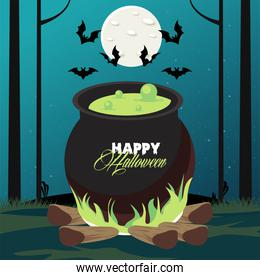 happy halloween celebration card with cauldron and bats flying