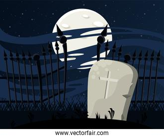 happy halloween celebration card with grave and