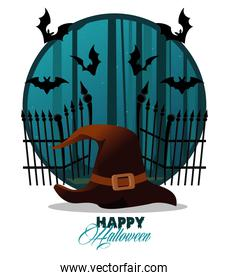 happy halloween celebration card with witch hat and bats flying scene
