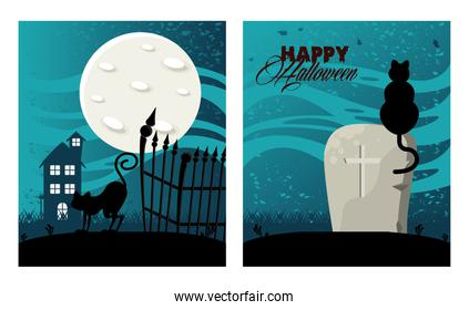 happy halloween celebration card with haunted house and cats in cemetery