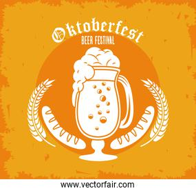 oktoberfest celebration festival poster with beer cup and sausages