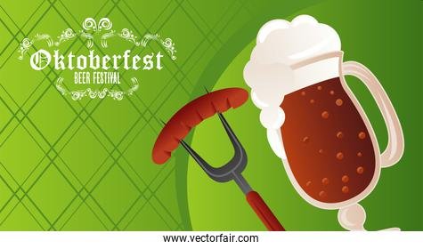 oktoberfest celebration festival poster with beer cup and sausage