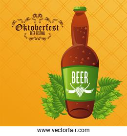 oktoberfest celebration festival poster with beer bottle and leafs