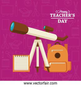 happy teachers day card with schoolbag and telescope