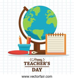 happy teachers day card with lettering and supplies