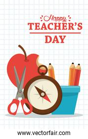 happy teachers day card with supplies and lettering