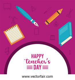 happy teachers day lettering with books and supplies
